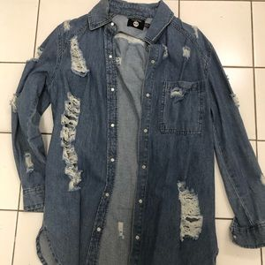 New Boohoo Distressed Jean Jacket or Overshirt